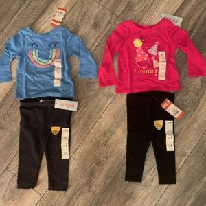 NWT CAT & JACK LEGGING/TOP LOT 12 MONTHS-2 OUTFITS